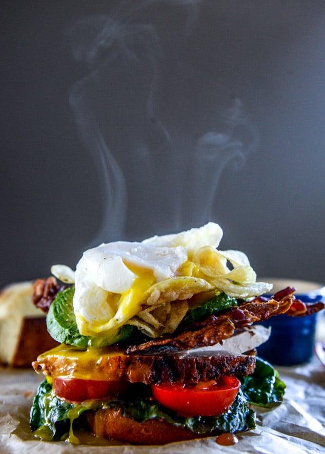 roasted turkey potato chip BLAT with an egg I howsweeteats.com