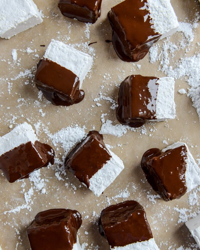 chocolate covered coconut marshmallows I howsweeteats.com