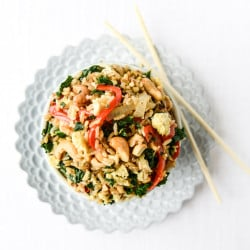 garlic kale and cashew fried rice I howsweeteats.com-2