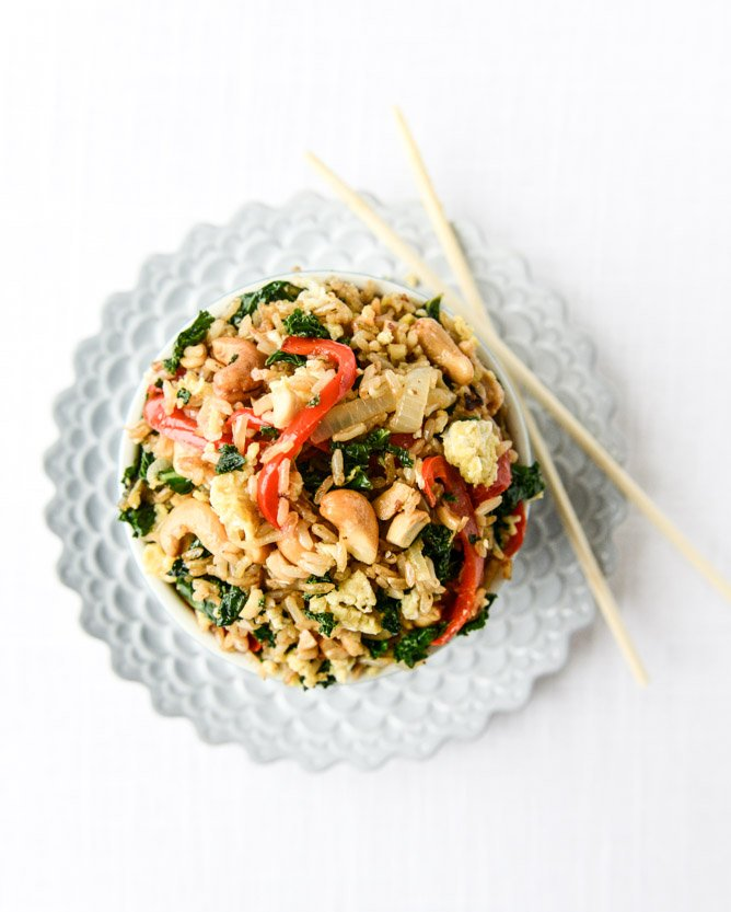 Garlic Kale and Cashew Fried Rice