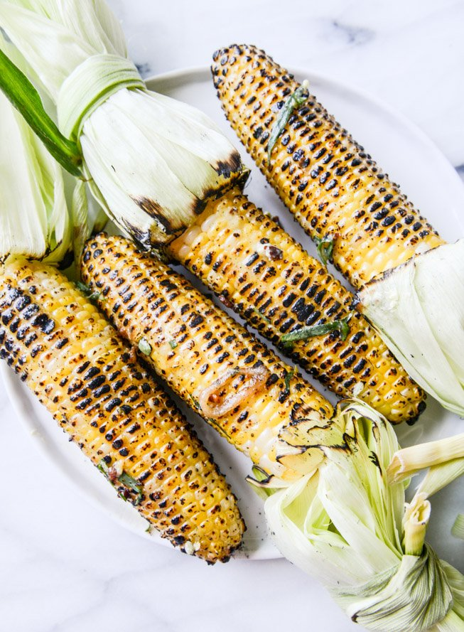 grilled corn with sweet + spicy mustard compound butter I howsweeteats.com