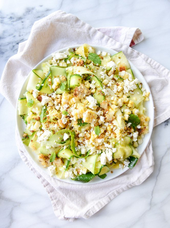 marinated zucchini feta salad with fresh corn and toasted pistachio breadcrumbs I howsweeteats.com