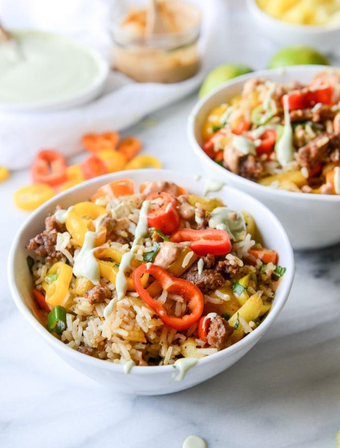 pineapple chorizo rice bowls I howsweeteats.com