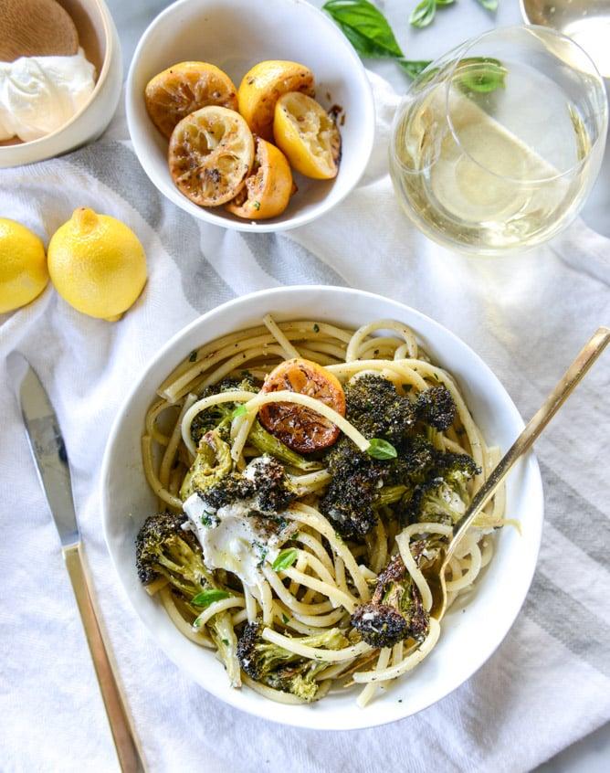 blackened broccoli bucatini with charred lemon and goat cheese I howsweeteats.com