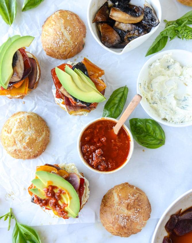 Grilled Veggie Sliders On Homemade Pretzel Buns I Howsweeteats