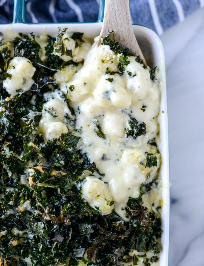 gnocchi mac and cheese with crispy kale I howsweeteats.com