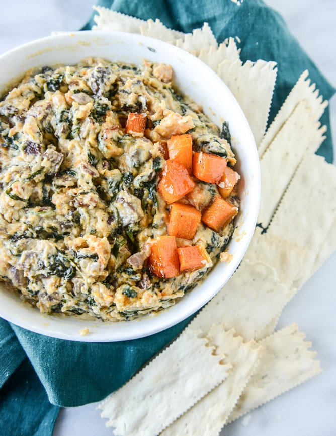 roasted butternut squash spinach dip I howsweeteats.com