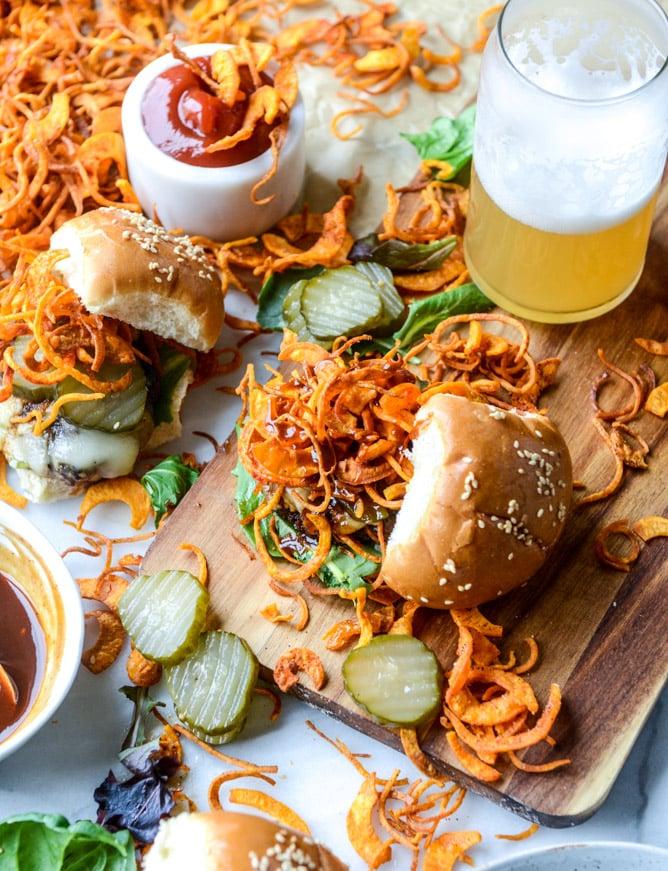 BBQ havarti burgers with sweet potato curly fries I howsweeteats.com