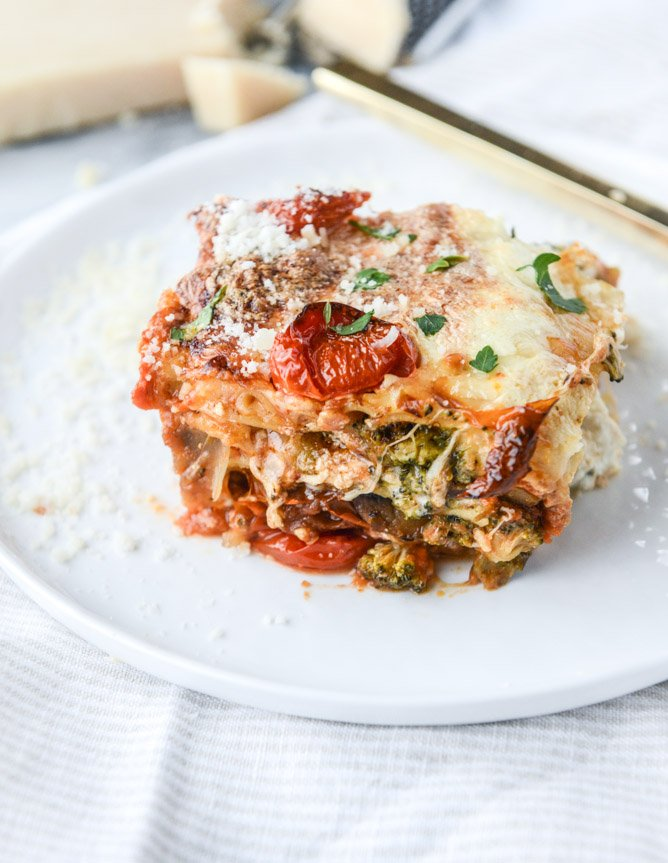 Roasted Vegetable Lasagna with Burrata. - How Sweet Eats