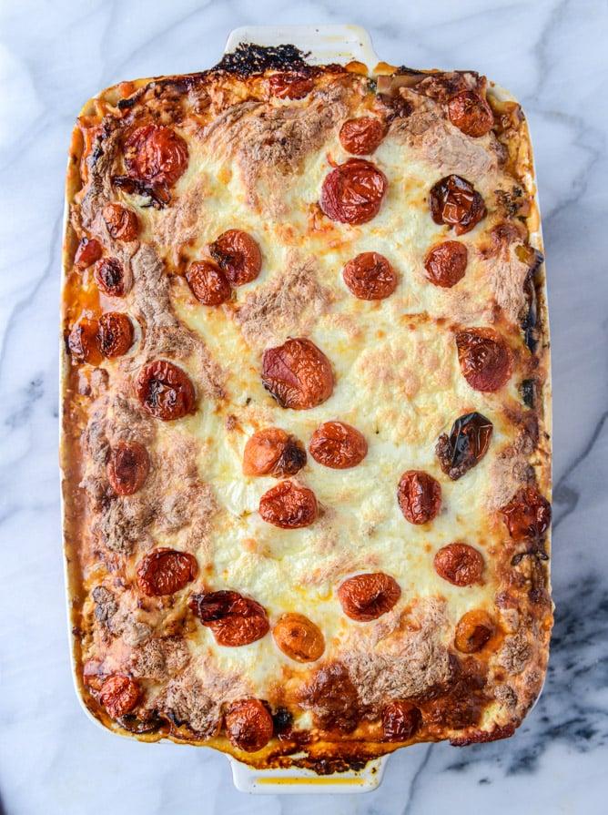 roasted vegetable lasagna with burrata I howsweeteats.com