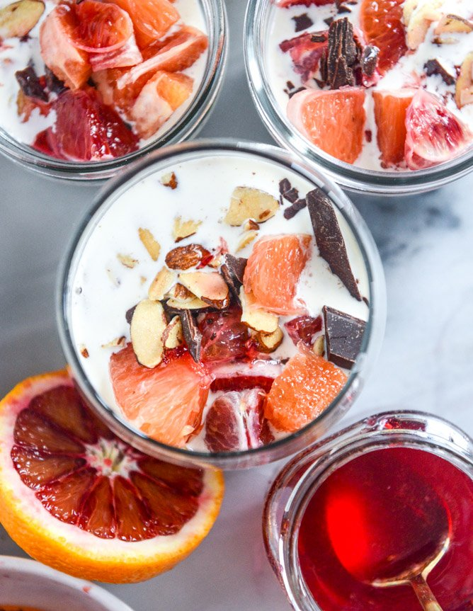 winter vanilla chia pudding with blood orange syrup and dark chocolate I howsweeteats.com