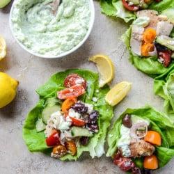 greek chicken lettuce cups I howsweeteats.com-6
