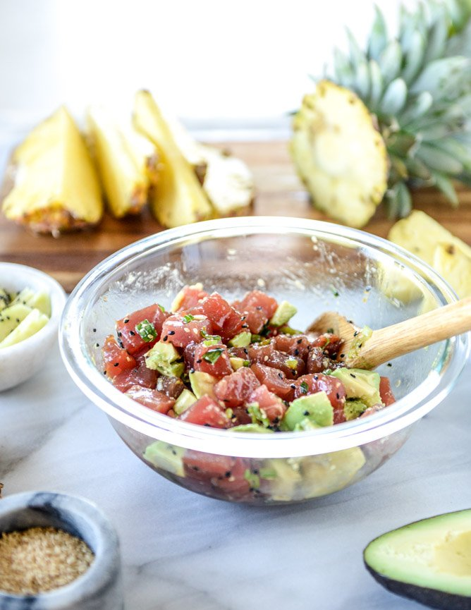 ahi poke bowl with avocado and pineapple I howsweeteats.com