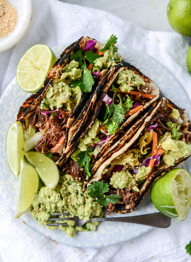 ... Sweet and Spicy Short Rib Tacos with Sesame Guacamole | How Sweet It