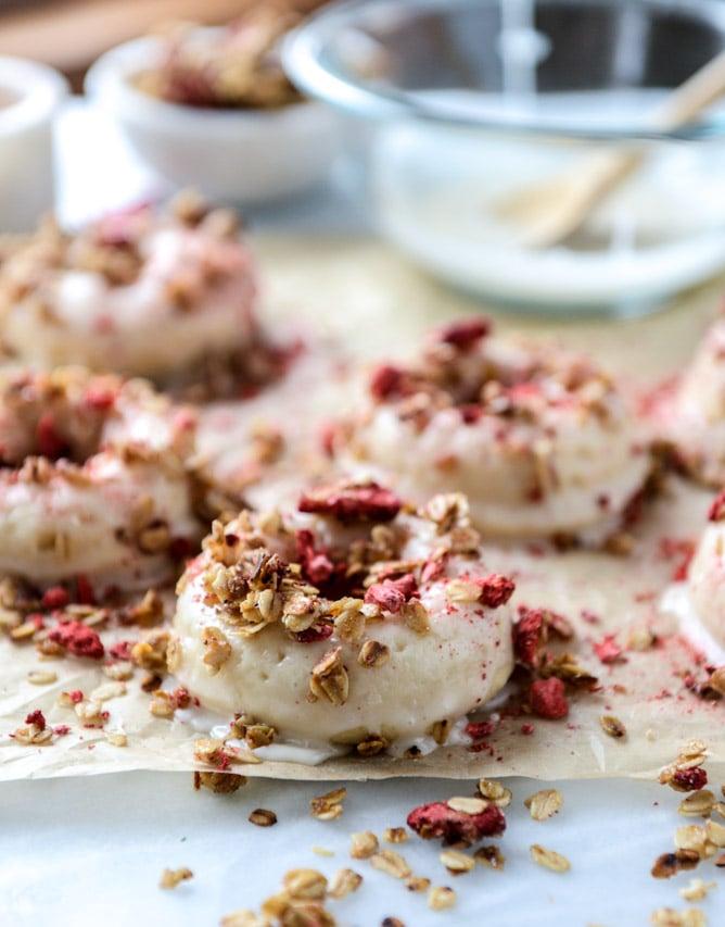 greek yogurt doughnuts with strawberry stovetop granola I howsweeteats.com