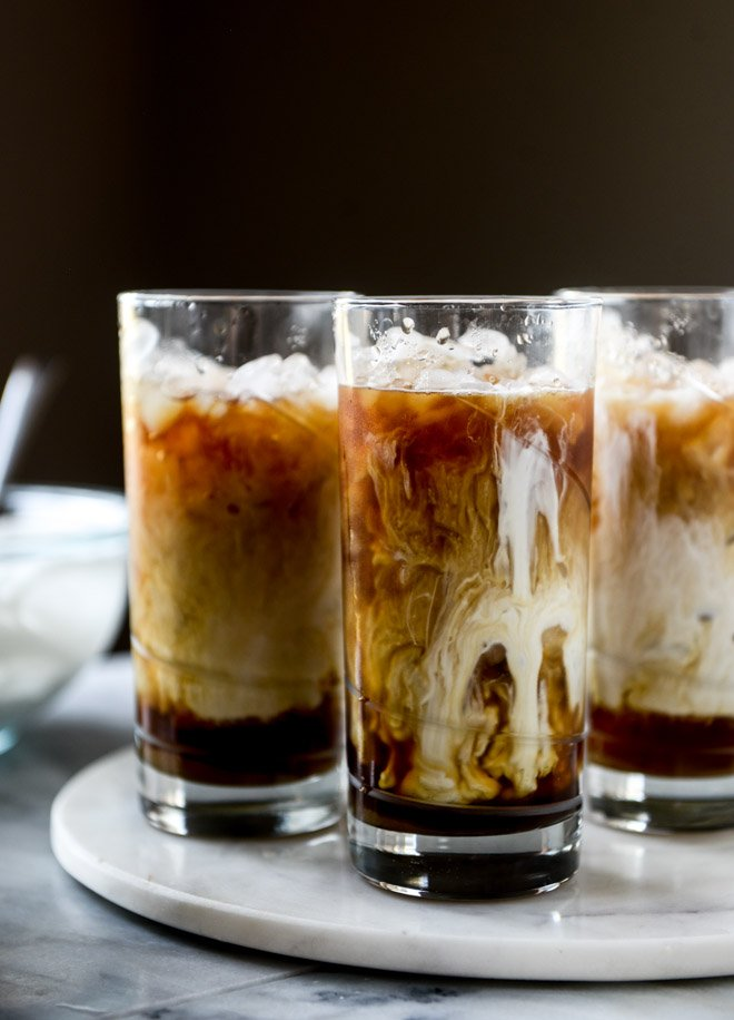 iced whiskey coffees with whiskey syrup I howsweeteats.com