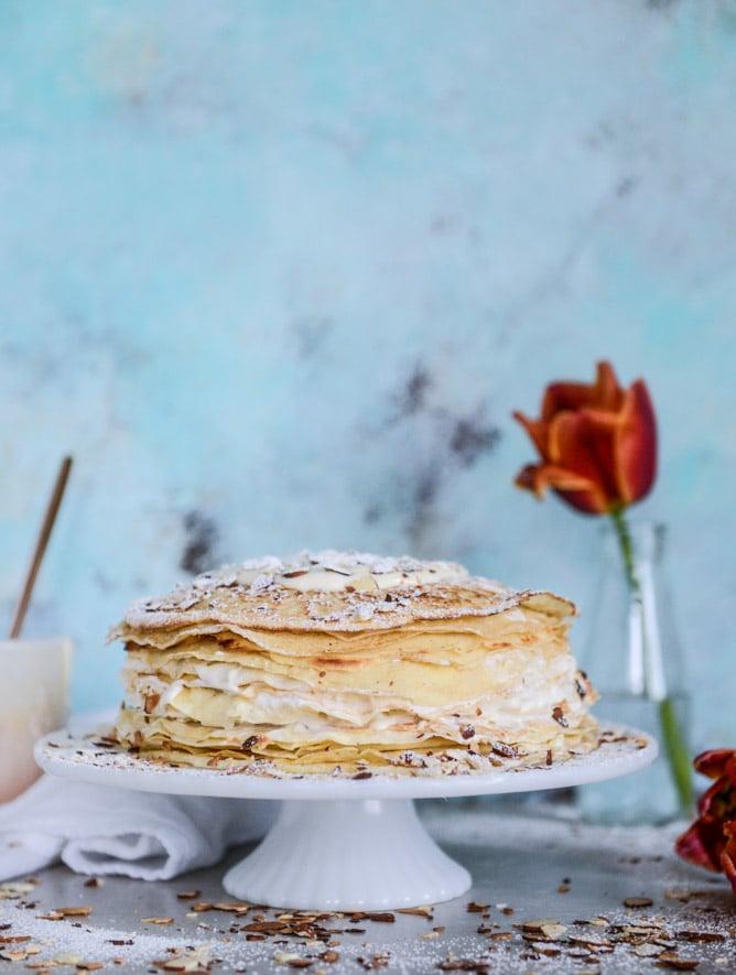 almond cream crepe cake I howsweeteats.com