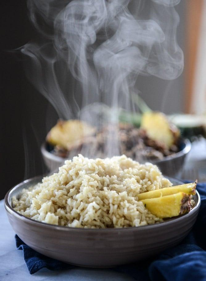 slow cooker jerk pork in pineapple rice bowls I howsweeteats.com