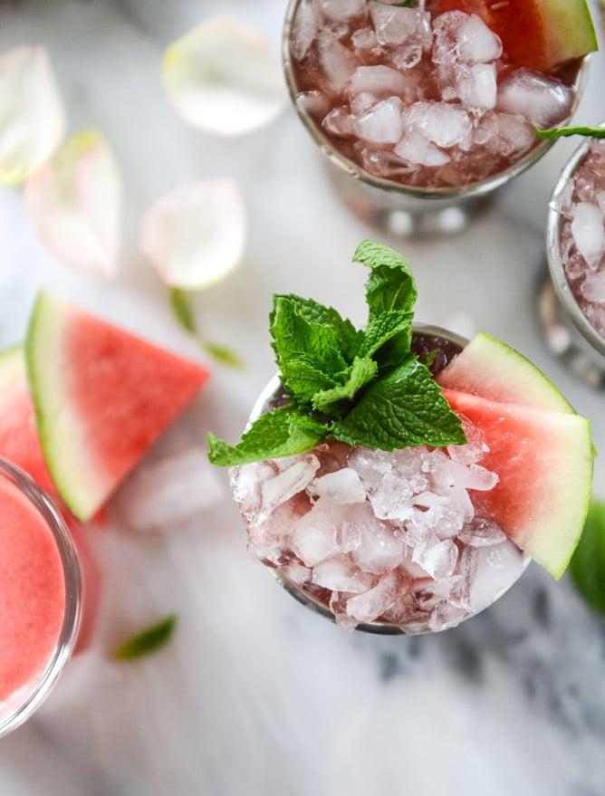 fresh watermelon mint juleps I howsweeteats.com