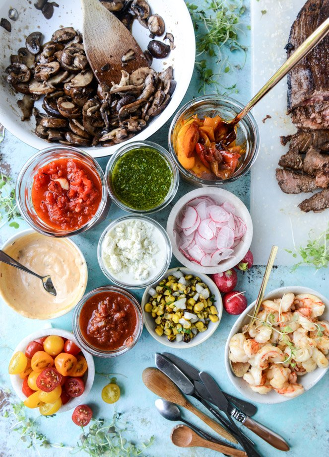 marinated flank steak with our favorite toppings I howsweeteats.com