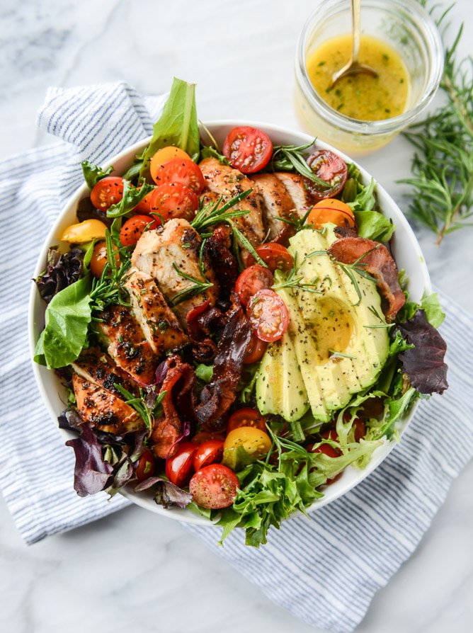 rosemary chicken, bacon and avocado salad I howsweeteats.com