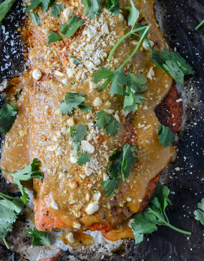 salmon with thai curry peanut sauce and coconut cilantro rice I howsweeteats.com