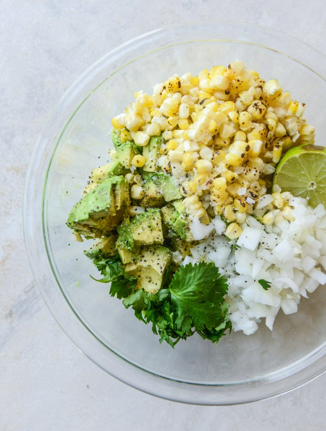 chicken tinga tacos with grilled corn guacamole by @howsweeteats I howsweeteats.com