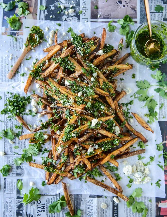 chimichurri fries with gorgonzola I howsweeteats.com