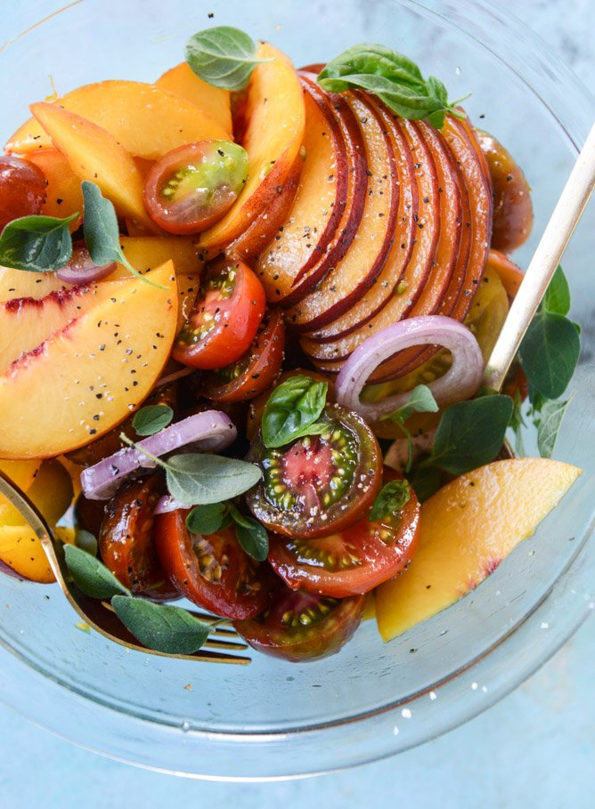 marinated tomato peach salad with herb butter toast I howsweeteats.com