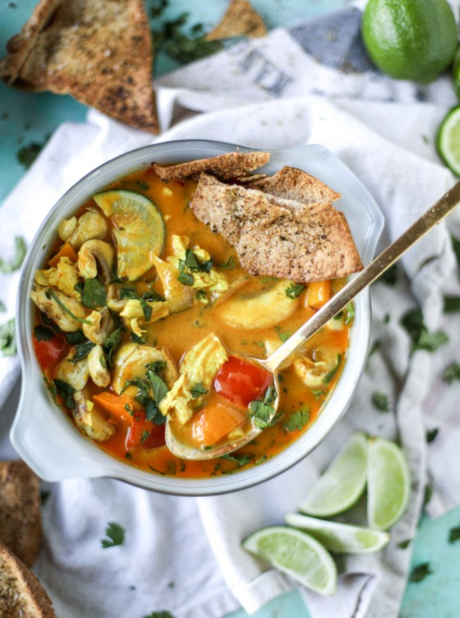 golden chicken coconut soup with spiced pitas I howsweeteats.com