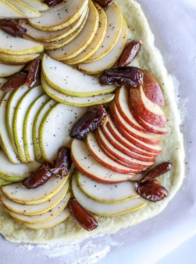 savory pear flatbread with dates, burrata cheese and crispy sage I howsweeteats.com