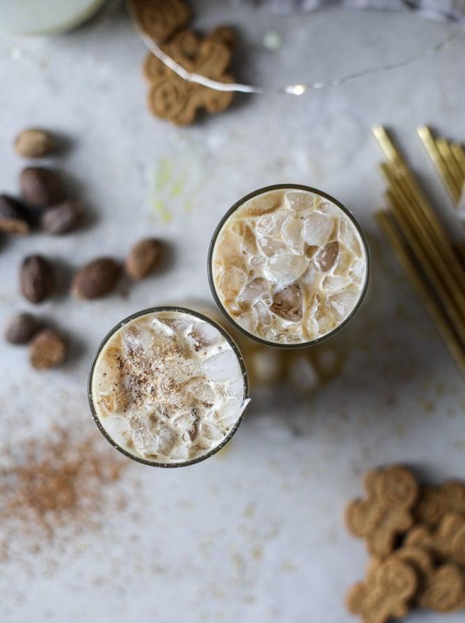 iced eggnog lattes I howsweeteats.com