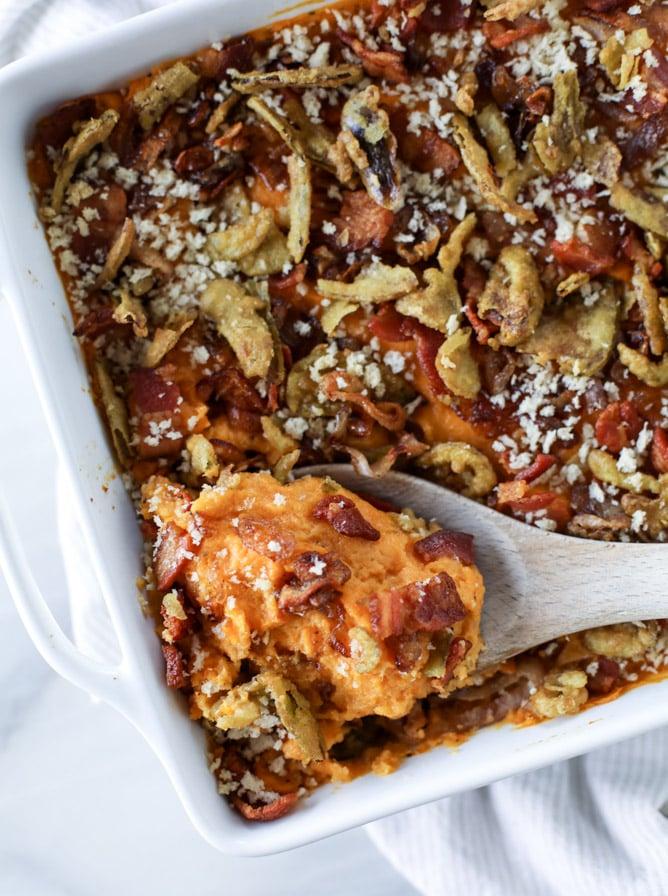 savory sweet potato casserole I howsweeteats.com