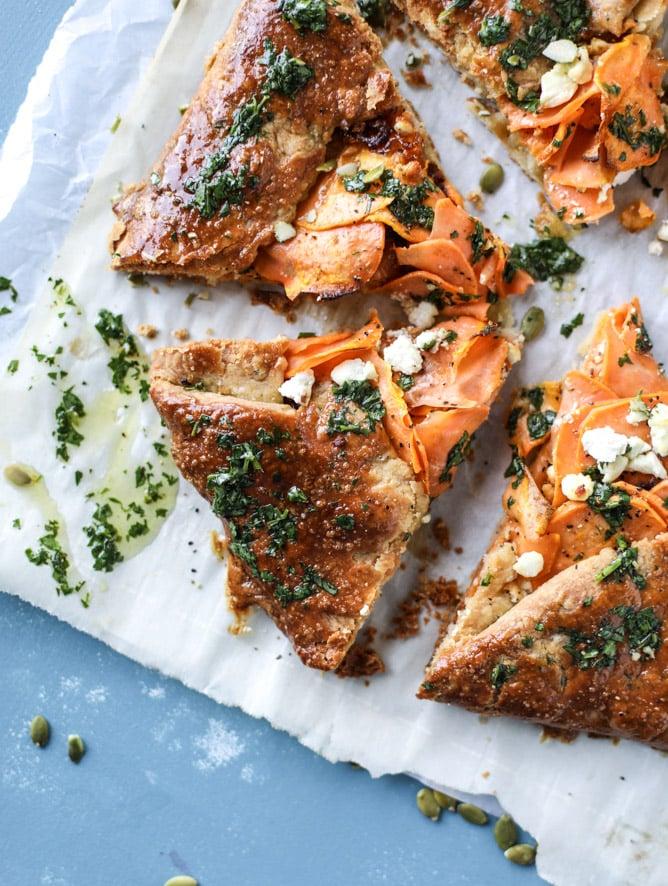 sweet potato galette with caramelized shallots I howsweeteats.com