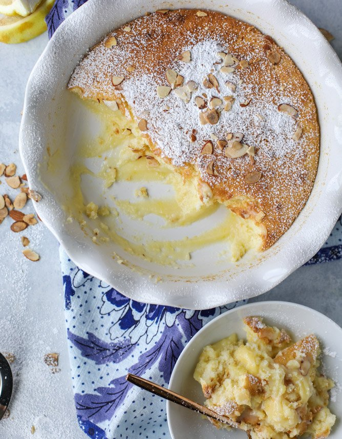 lemon almond pudding cake I howsweeteats.com