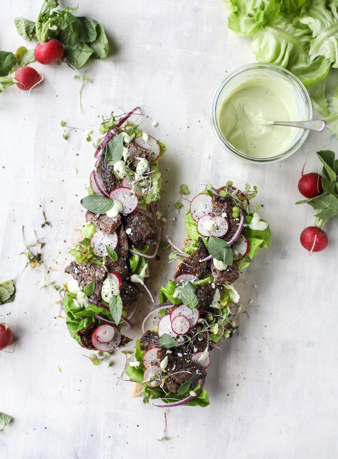 open faced steak sandwich with avocado horseradish I howsweeteats.com