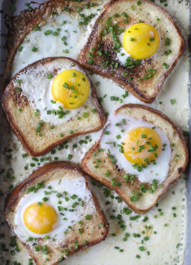 baked toast and eggs in cream I howsweeteats.com