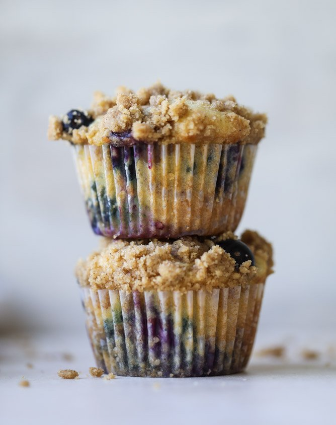 bursting blueberry coffee cake muffins I howsweeteats.com