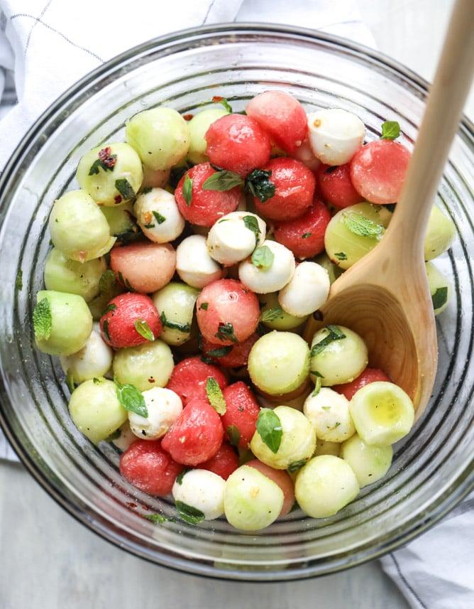 marinated mozzarella melon salad I howsweeteats.com