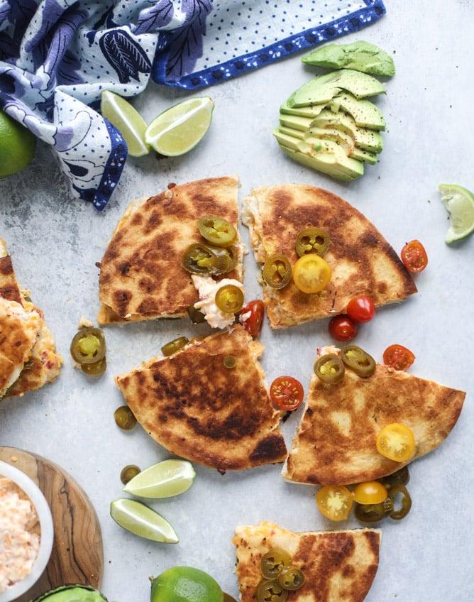 pimento cheese chicken quesadillas I howsweeteats.com