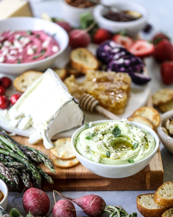 late spring cheese board with beet whipped feta I howsweeteats.com