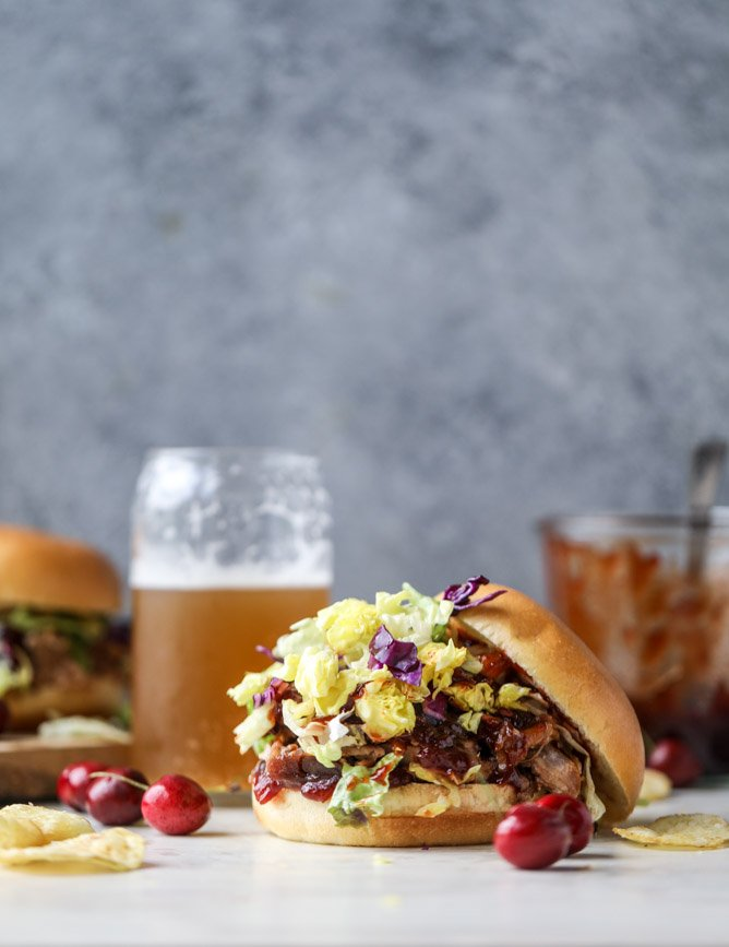 pulled pork sandwiches with cherry chipotle BBQ sauce I howsweeteats.com