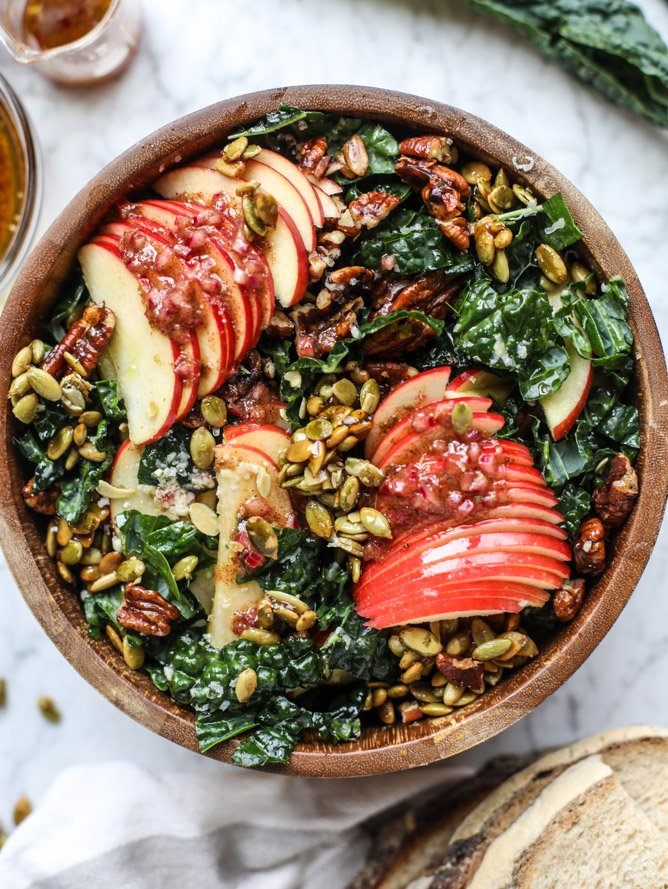 Harvest Apple Kale Salad from How Sweet Eats on foodiecrush.com