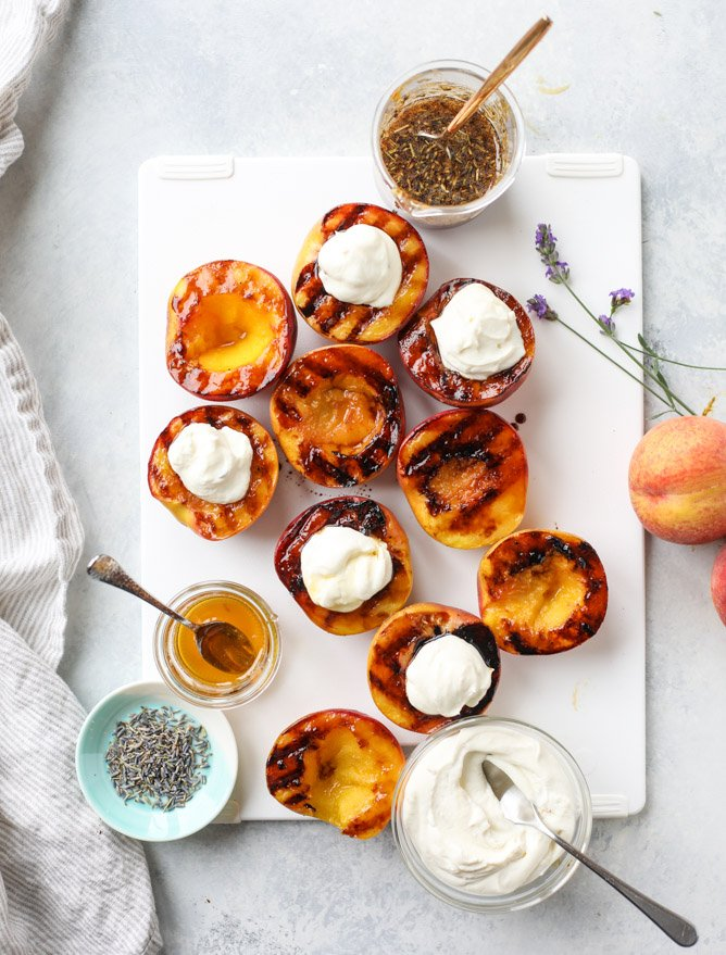 grilled peaches with lavender honey whipped ricotta I howsweeteats.com