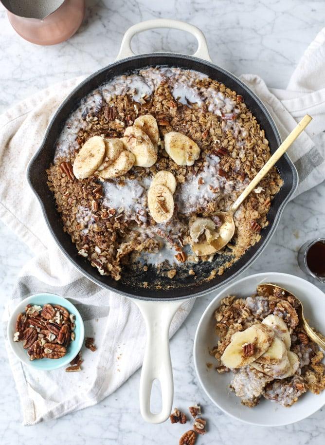 banana, bourbon and pecan baked oatmeal I howsweeteats.com