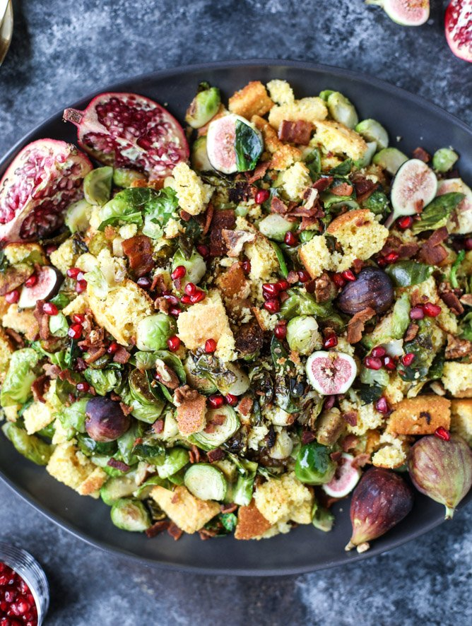 brussels, bacon and cornbread panzanella salad I howsweeteats #thanksgiving #salad #sidedish