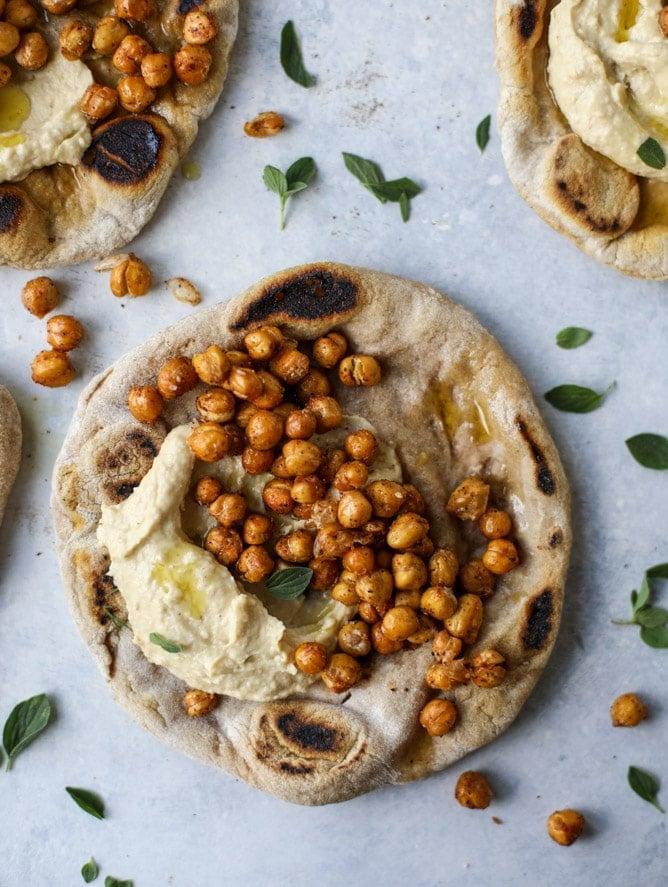 crunchy roasted chickpea pitas I howsweeteats.com #chickpeas #vegetarian