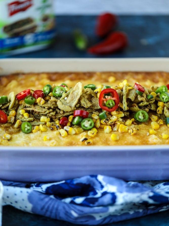 jalapeño corn soufflé I howsweeteats.com #christmas #holidays #corn #pudding #side dish