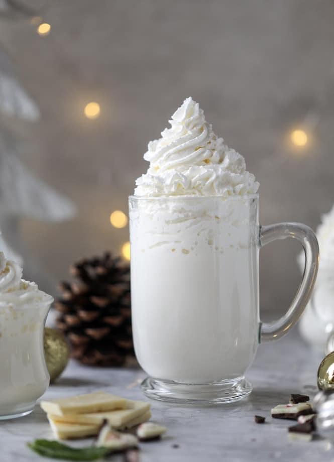 fresh mint white hot chocolate I howsweeteats.com #hotchocolate #christmas #holidays #whitechocolate