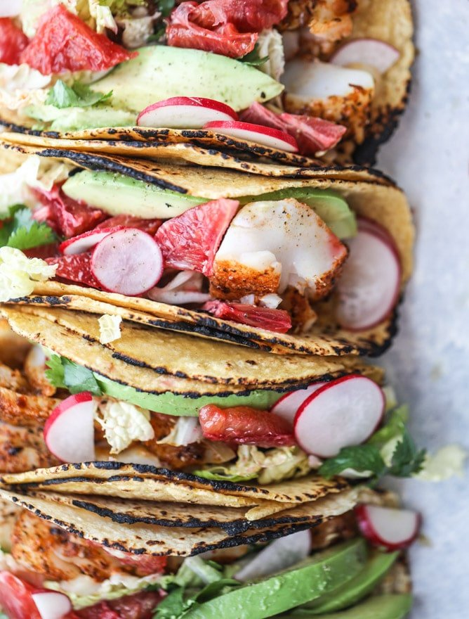 cajun fish tacos with blood orange slaw I howsweeteats.com #fishtacos #tacos #bloodorange #fish